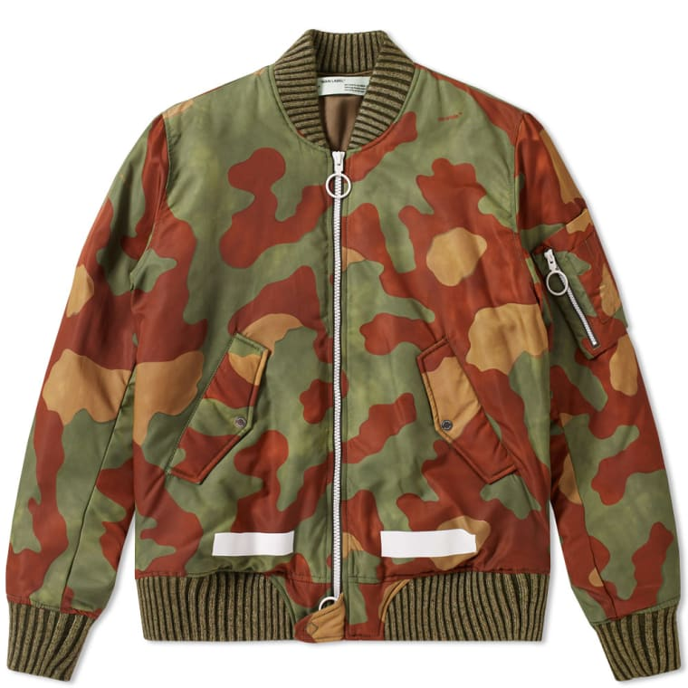 Off White Camo Bomber Jacket Camouflage White End