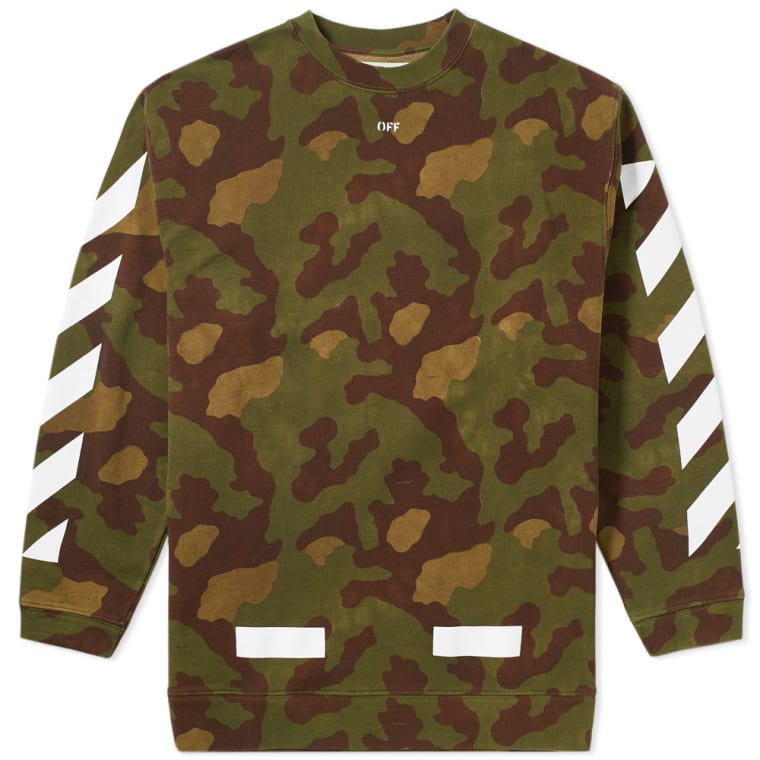 Off White Diagonals Camouflage Crew Sweat Camo White End