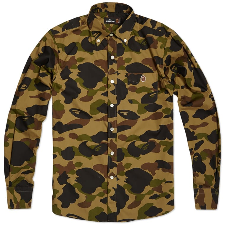 722d319e8e9 Mr. Bathing Ape 1st Camo Button Down Shirt (Green)