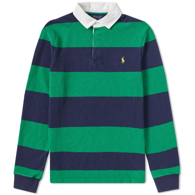 Polo Ralph Lauren Stripe Rugby Shirt English Green French Navy 1
