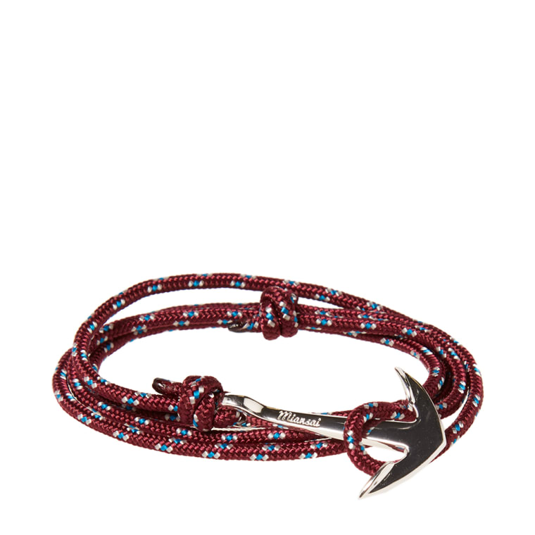 Miansai Silver Anchor Rope Bracelet Burgundy 1