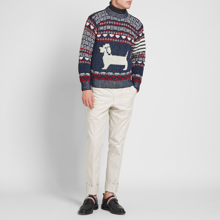Thom Browne Fair Isle Hector Crew Knit (Red, White & Blue)   END.