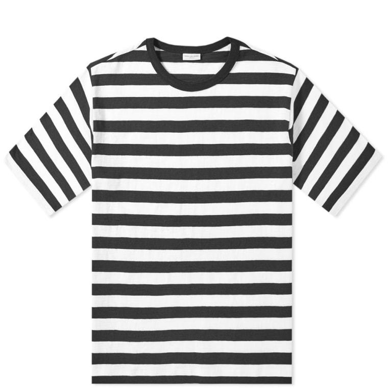 Dries Van Noten Holiday Stripe Tee Black White FLAT 1