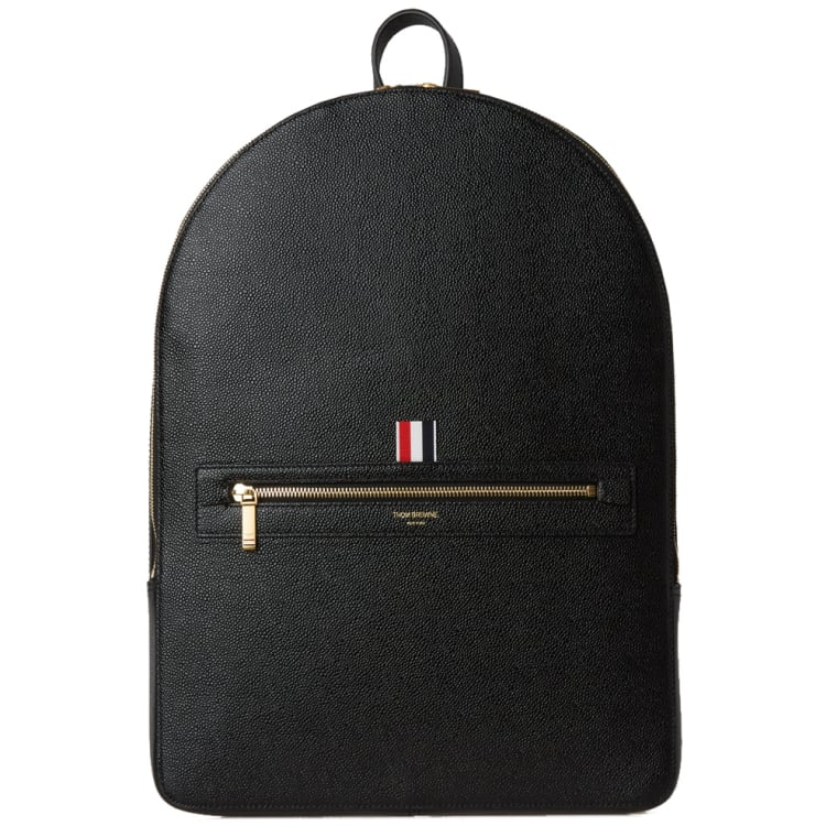 Thom Browne Leather Backpack (Black Pebble Grain) | END.