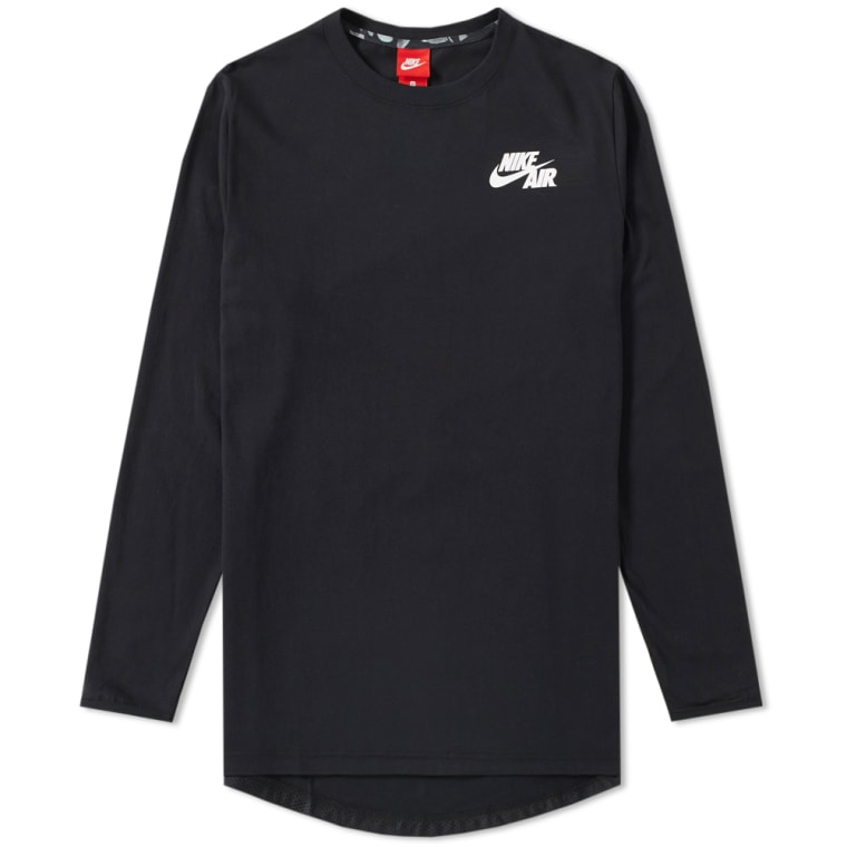 b5a3c282c4dd Nike Air Long Sleeve Top Black   White FLAT 1