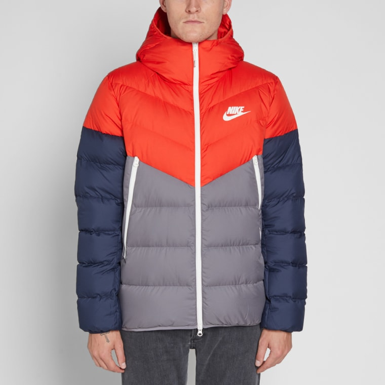 Nike Down Filled Hooded Windrunner Jacket (Red, Gunsmoke ...