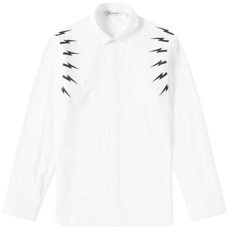 Neil Barrett Fair Isle Thunderbolt Sleeve Shirt (White & Black)   END.