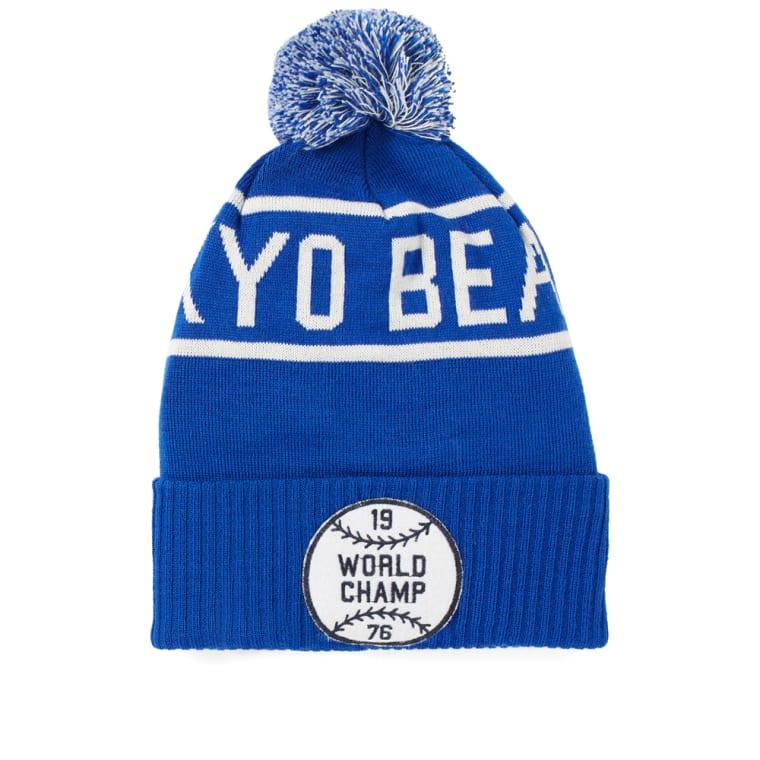 Champion x Beams Bobble Beanie Hat (Blue)  f110bb44f5b