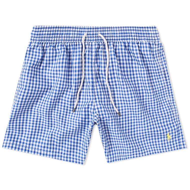 455bd0ba04 ... top quality polo ralph lauren gingham traveller swim short blue white 1  35df1 5fe1b