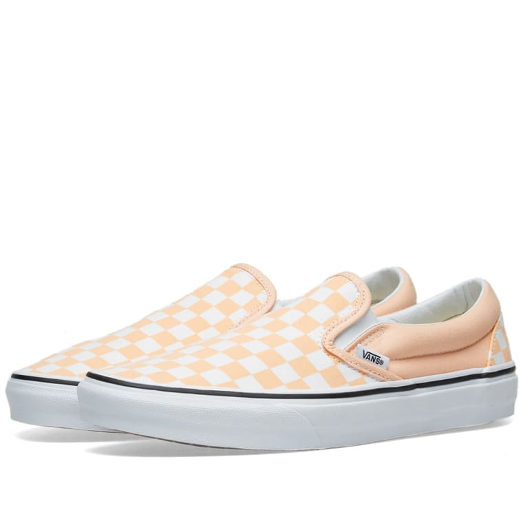 6dfaea4125fb5b Vans Classic Slip On Checkerboard Bleached Apricot   True White 1
