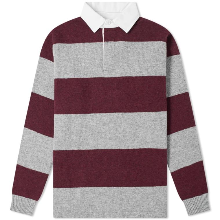 612fd208fb76 Beams Plus Knitted Stripe Rugby Shirt (Grey   Burgundy)