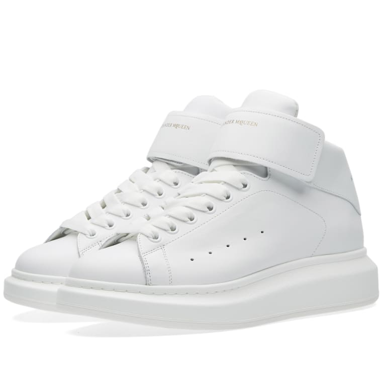 124686bd886b Alexander McQueen Oversized Sole Mid Top Strap Sneaker (White)