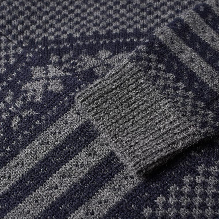 Dries Van Noten Tacos Fair Isle Crew Knit (Navy & Grey) | END.