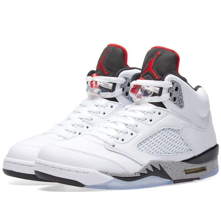 Air Jordan 5 Retro White University Red Black