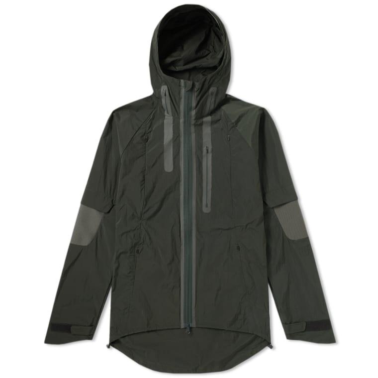 y 3 nylon rib hooded jacket dark black olive end