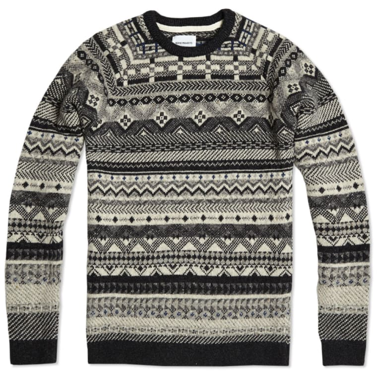 Norse Projects Birnir Fair Isle Wool Knit (Gunmetal Grey) | END.