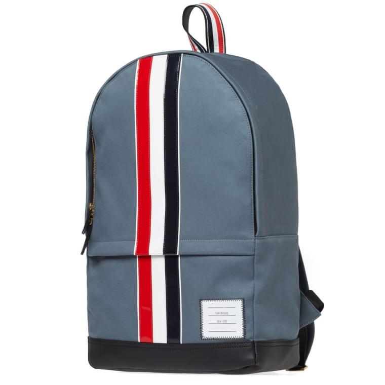 5470a371b0 Thom Browne Leather Stripe Mackintosh Backpack (Dark Grey)