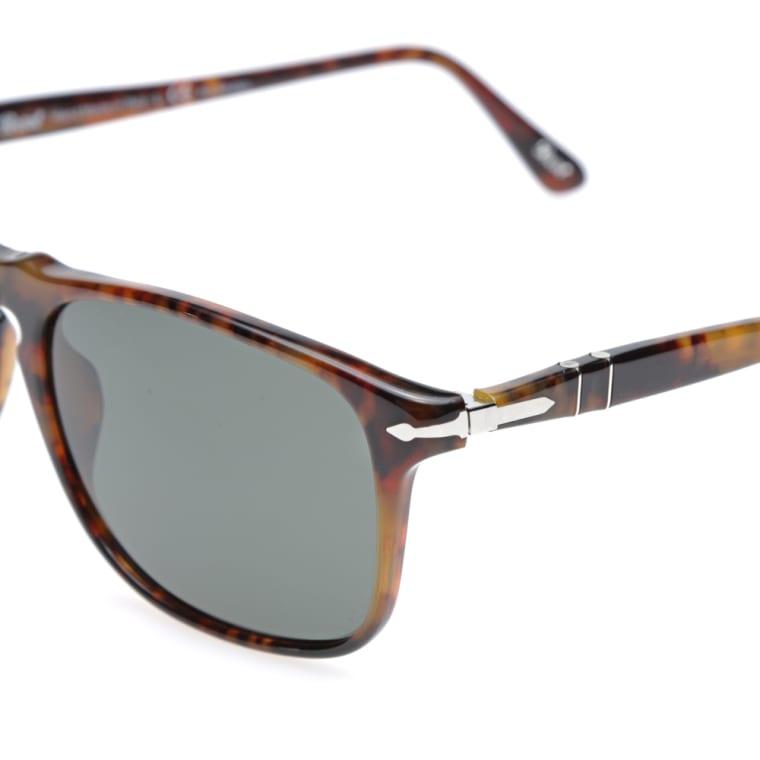 Persol 3059S Square Framed Polarised Aviator Sunglasses (Havana) | END.