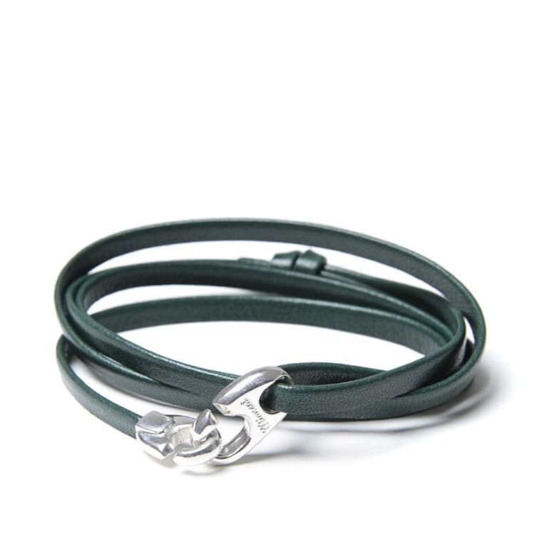 Miansai Bind Leather Silver Bracelet Hunter Green End