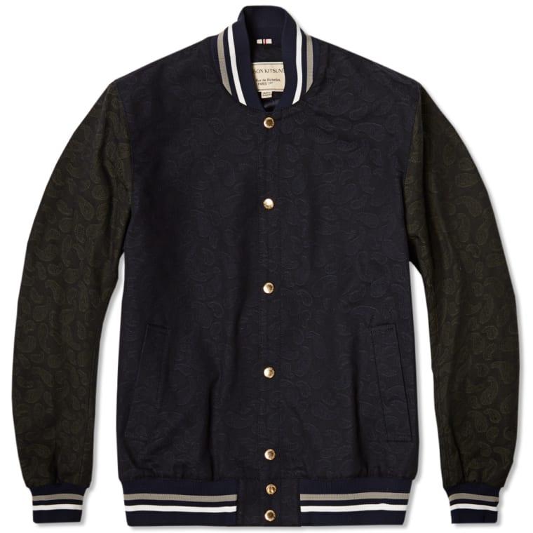 Maison Kitsune Paisley Teddy Varsity Jacket Navy Khaki End