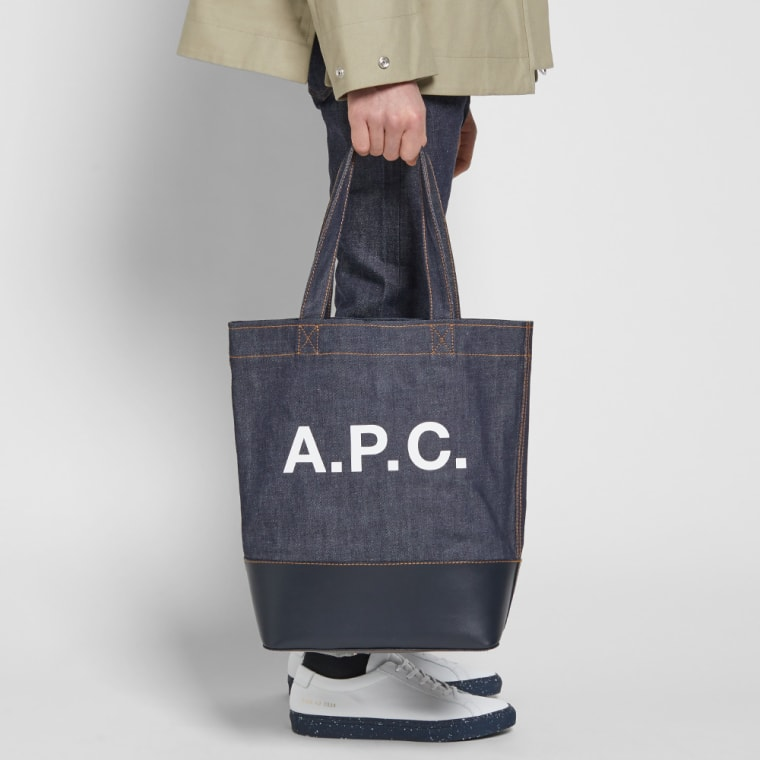 A P C Axel Denim Tote Bag Dark Navy 6