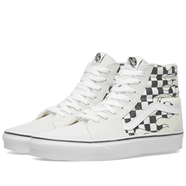 9dc6689dcc1 Vans SK8-Hi Checker Flame (Classic White   True White)