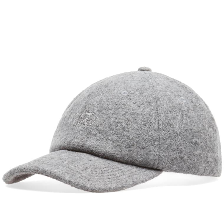 bf36cdba02b Stussy Boiled Wool Stock Logo Cap (Grey)