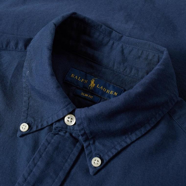 Polo Ralph Lauren Slim Fit Garment Dyed Oxford Shirt (Navy)  ede7bf79dde0