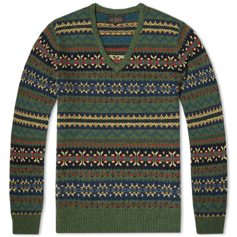 Beams Plus Fair Isle V Neck Sweater (Green) | END.