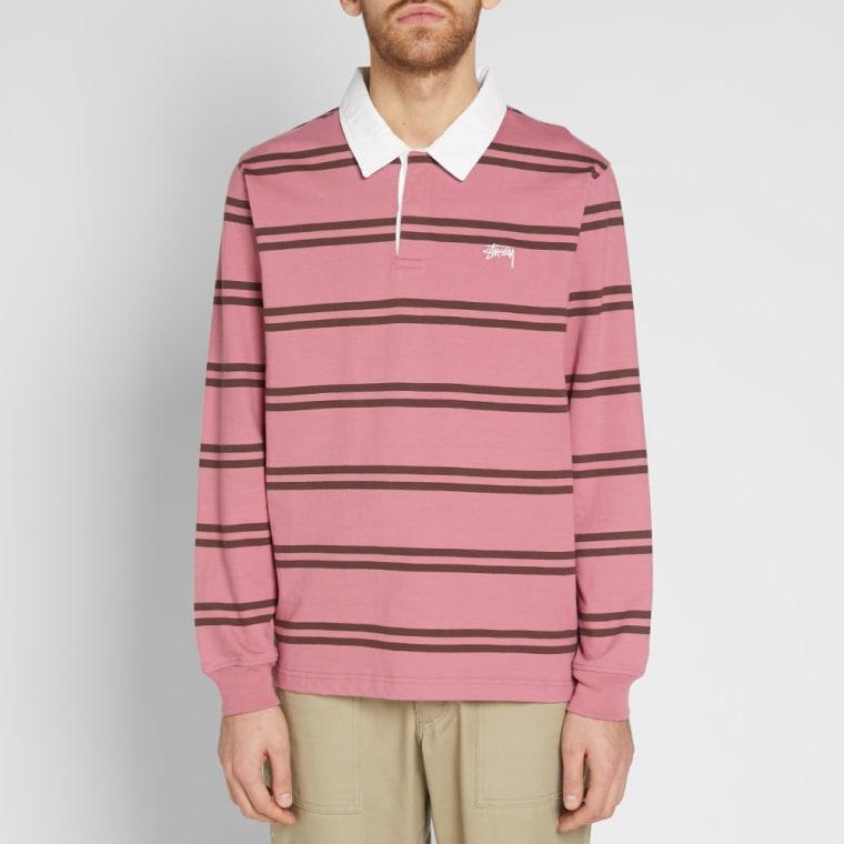 Stussy Desmond Stripe Rugby Shirt (Pink)