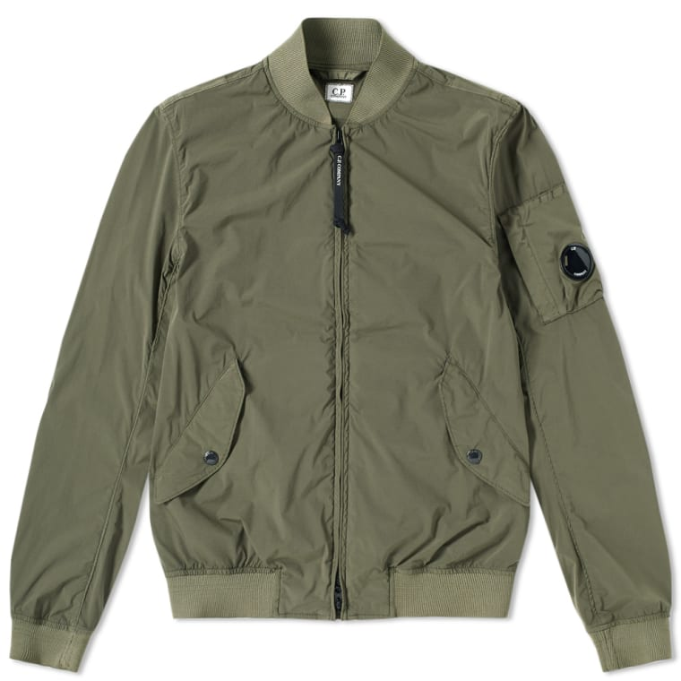 C.P. Company Nycra Arm Lens Bomber Jacket (Military Olive) | END.