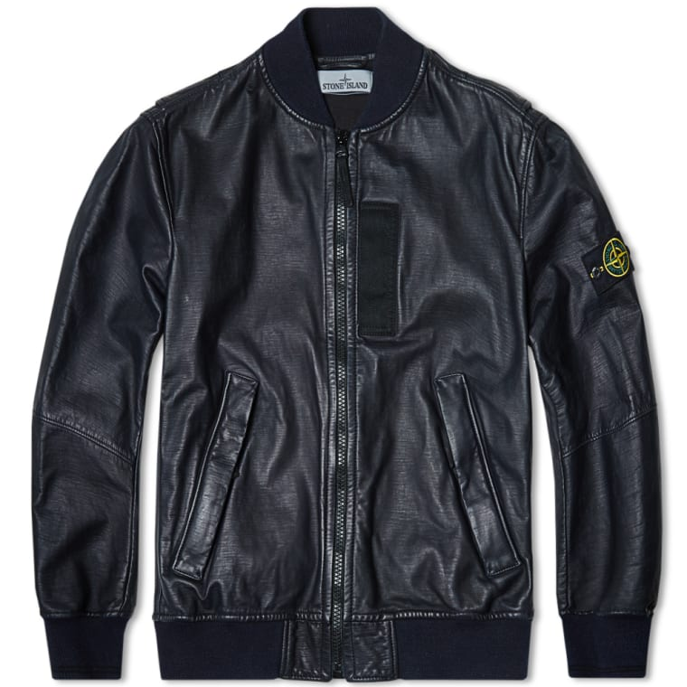 Stone Island Lightweight Leather Felpa Bomber Jacket (Navy) | END.