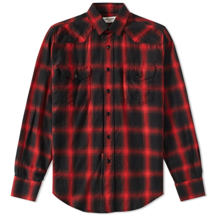 Saint laurent western check shirt black red end for Saint laurent check shirt