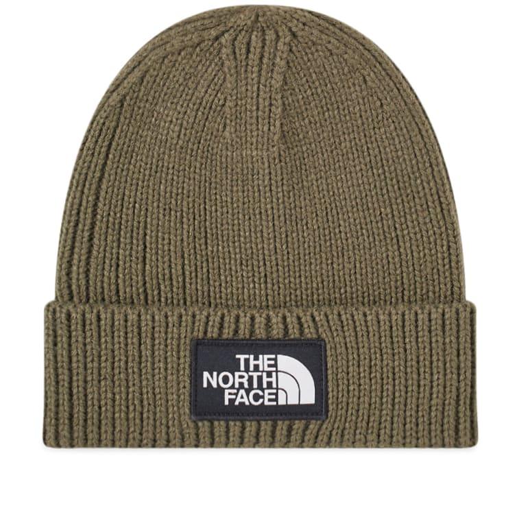 The North Face Logo Box Cuffed Beanie (Taupe Green)  9610c5ad8f6