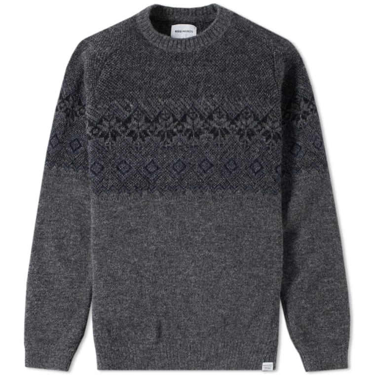 Norse Projects Birnir Fair Isle Crew Knit (Charcoal Melange) | END.