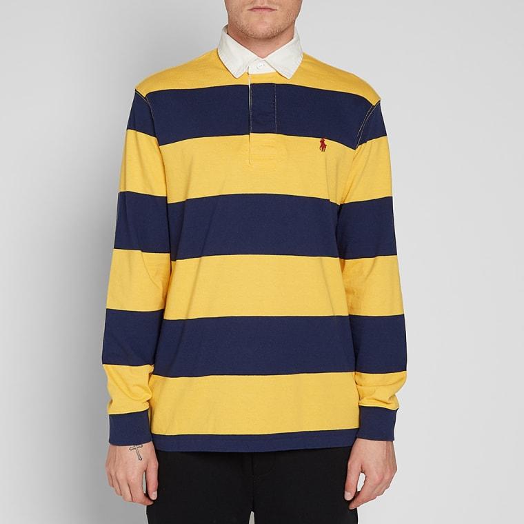 Vintage Valiant Rugby Shirt In Ultramarine Gold: Polo Ralph Lauren Stripe Rugby Shirt (Gold Bugle & Newport