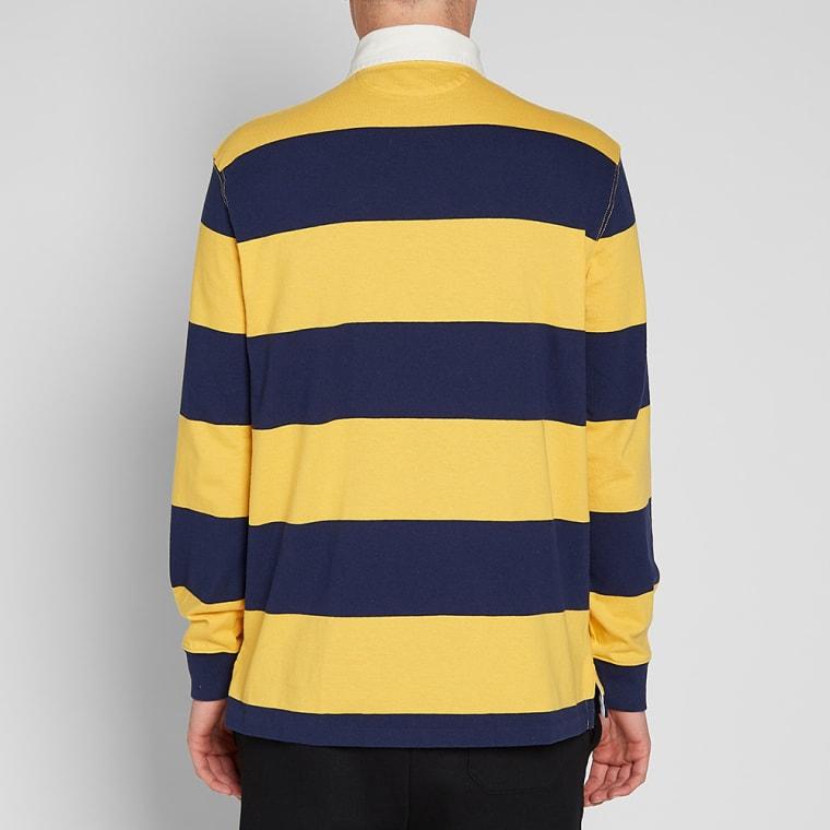 Polo Ralph Lauren Stripe Rugby Shirt Gold Bugle Newport Navy 6