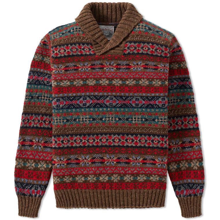 Jamieson's of Shetland Jacquard Fair Isle Shawl Neck Knit (Brown ...