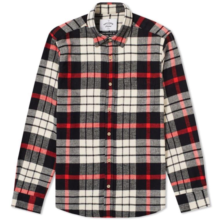 Portuguese flannel abril check shirt black white red for Red black and white flannel shirt