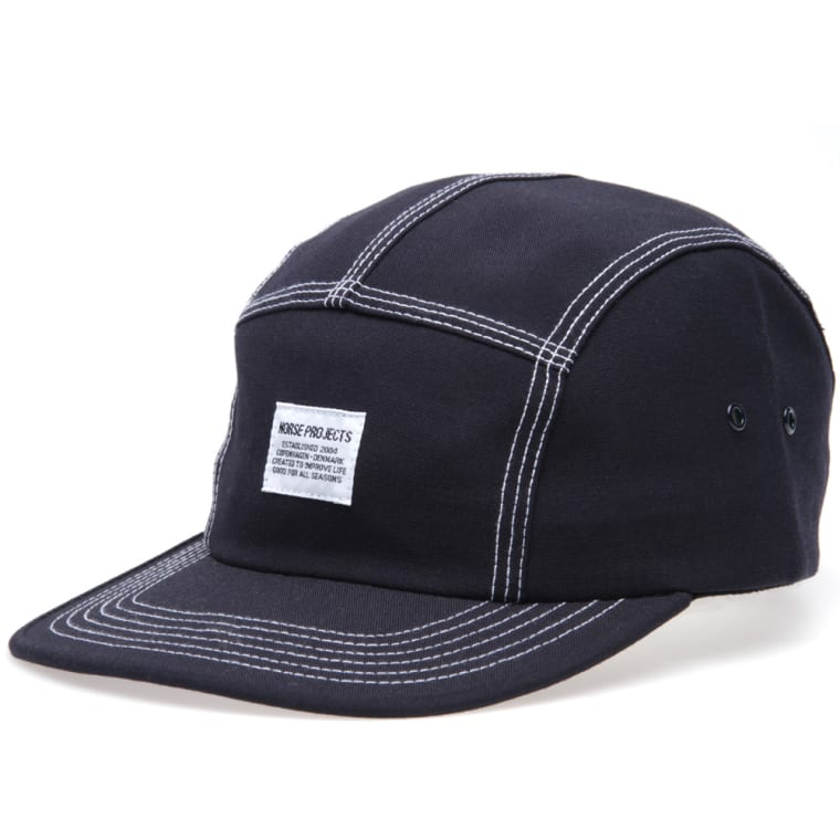 d3ce31b1795 Norse Projects 3 Needle Poly Wool 5 Panel Cap (Navy)