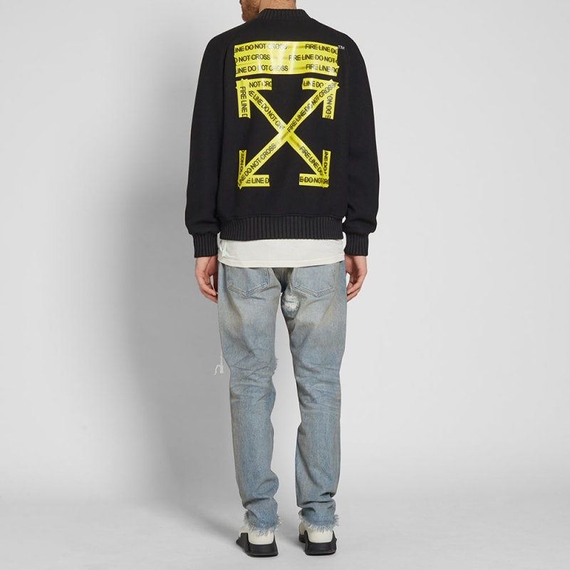 OFF-WHITE FIRETAPE VARSITY JACKET