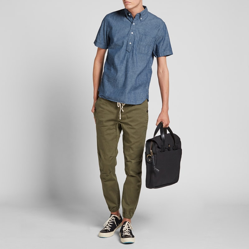 23eeb9d05e9 Beams Plus Short Sleeve Popover Chambray Shirt (Blue)