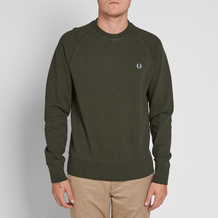 fred perry loopback crew sweat british racing green end. Black Bedroom Furniture Sets. Home Design Ideas