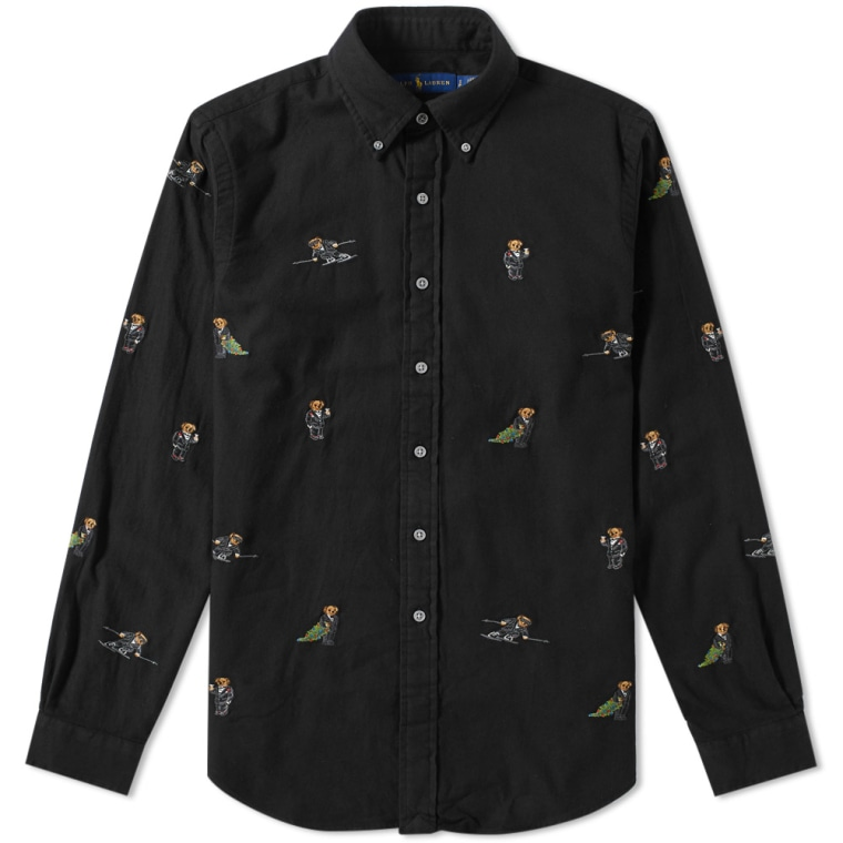 Polo Ralph Lauren Multi Bear Embroidered Shirt Black 1