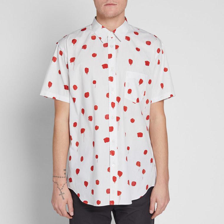Comme des garcons shirt short sleeve polka dot print shirt for White red polka dot shirt