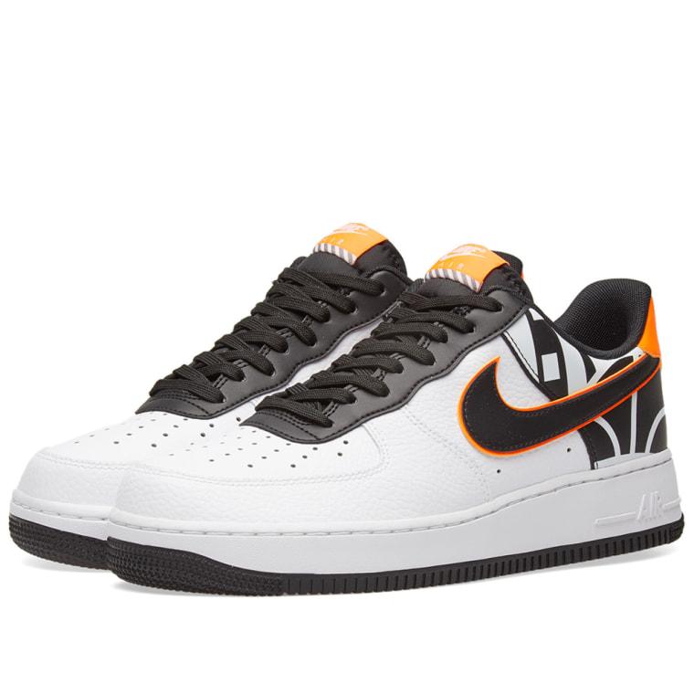 Nike Air Force 1 07 LV8 (White, Black & Total Orange) | END.