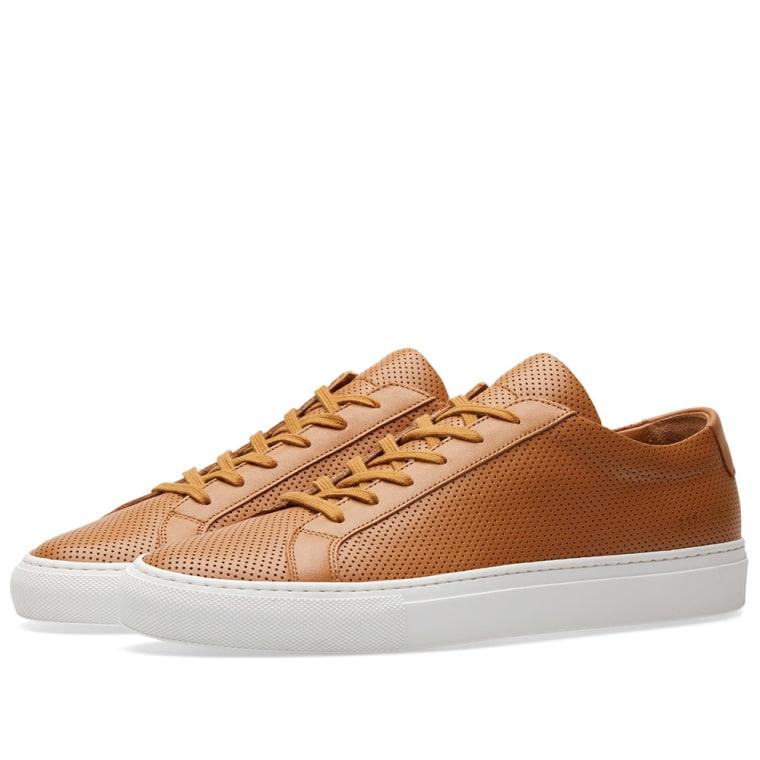 COMMON PROJECTS Tan & Achilles Low Perforated Sneakers