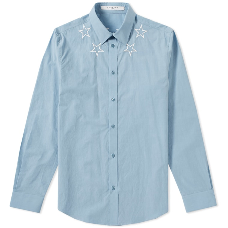 Givenchy star embroidered neck poplin shirt blue end for Givenchy 5 star shirt