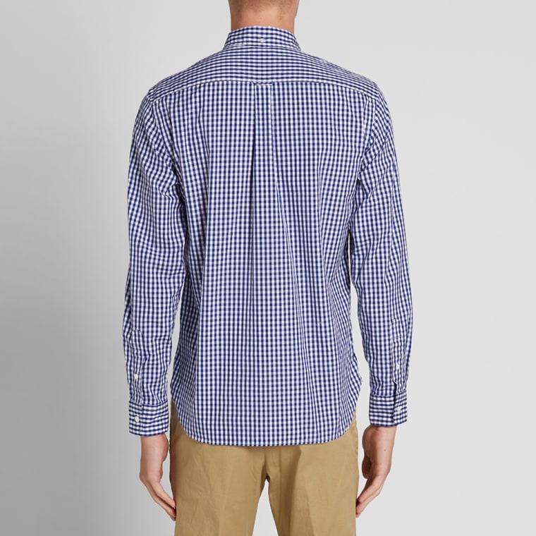 Beams plus button down gingham shirt blue end for Blue gingham button down shirt