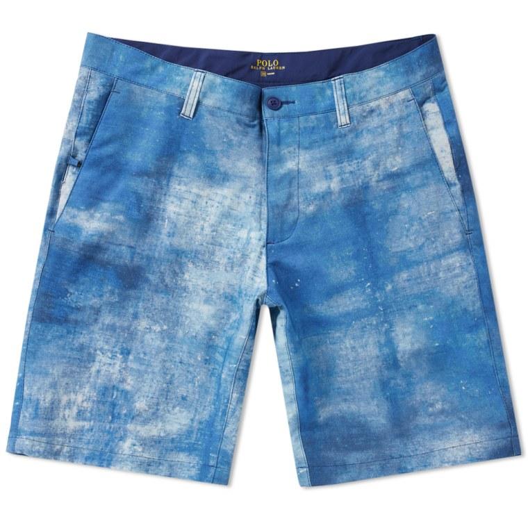 Polo Ralph Lauren Indigo Spray Swim Short Blue \u0026 White flat 1